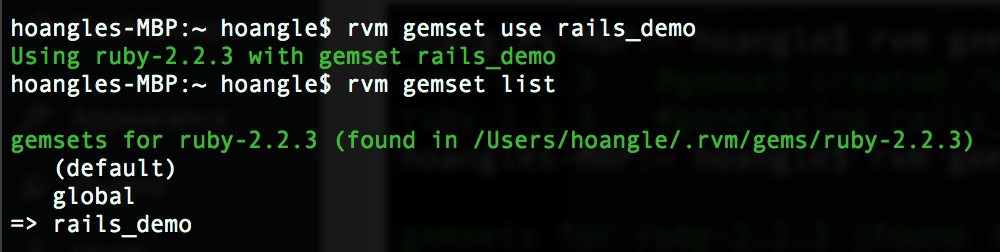 rvm gemset use